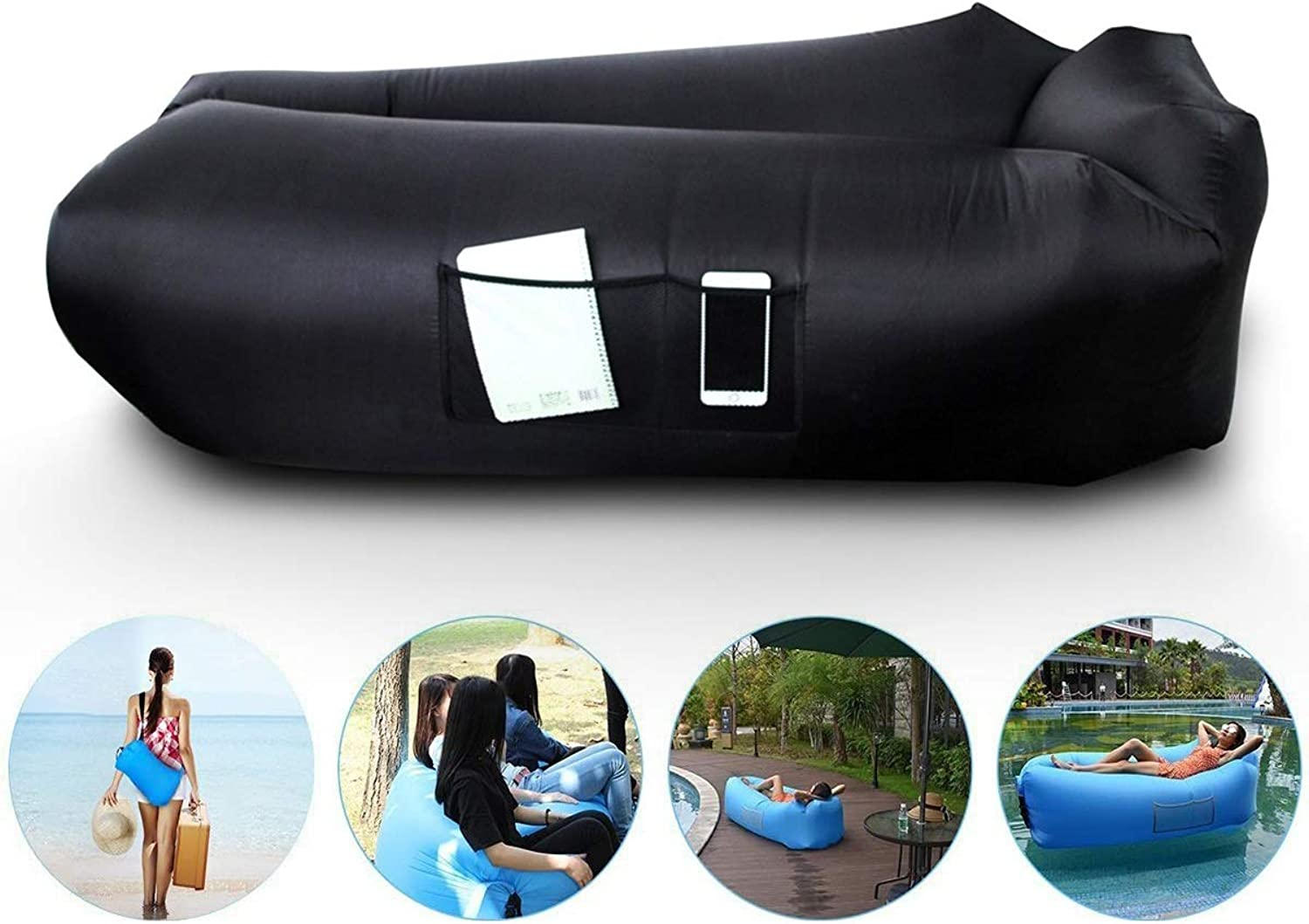 Inflatable Lounger Hammock Air Sofa Black, Portable for Ideal Couch for Backyard Lakeside Beach Traveling Camping Picnics Music Festivals Water Proof Design