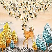 写真の壁紙3D鹿の木壁画リビングルームダイニングルームモダンな創造的な背景壁の壁紙-350x250cm