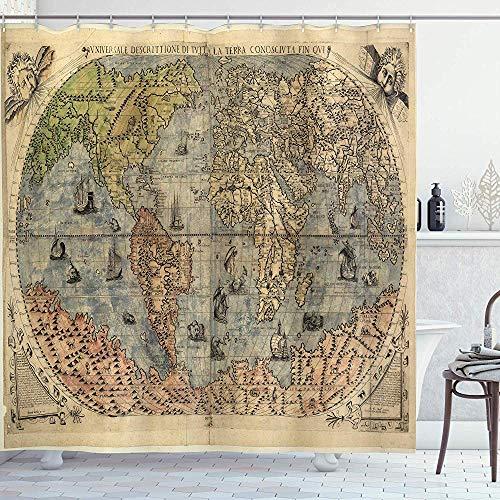 FANCYDAY Tenda da Doccia Antica, Mappa della Storia Globale del Mondo, Carta macchiata Oceani Terre Atlante Vintage, Verde Crema