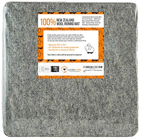 Lovely Home Wool Ironing Mat 13.5 x 13.5 Inches - 100% Pure New Zealand Wool Pressing Mat - Retains Heat, Great for Quilting & Sewing Projects