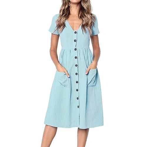 d1e852eb09d MEROKEETY Women s Summer Short Sleeve V Neck Button Down Swing Midi Dress  with Pockets
