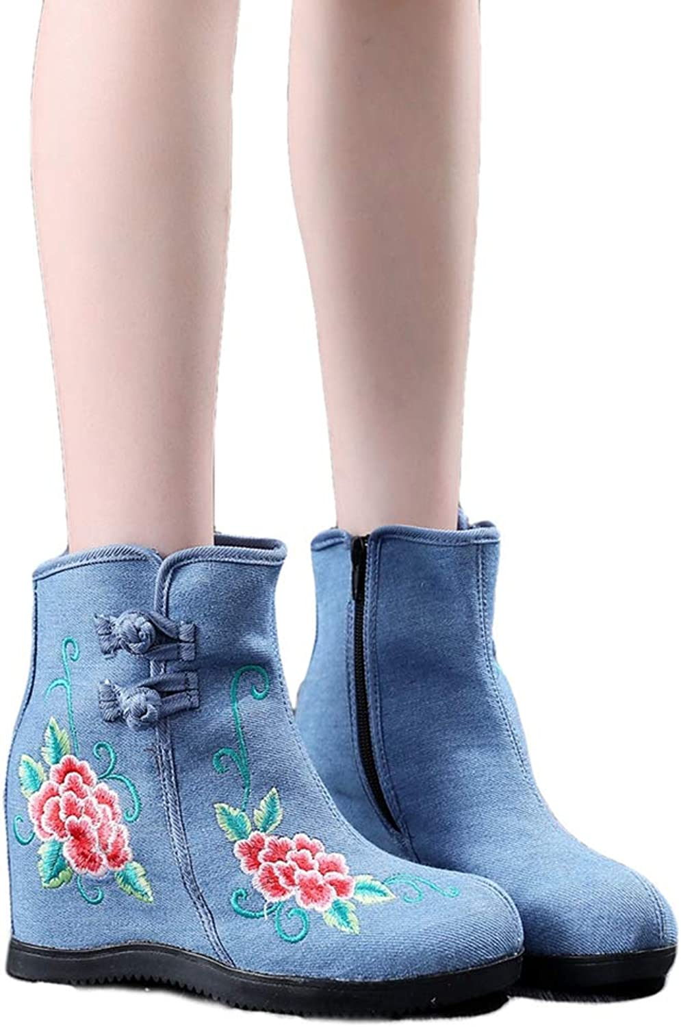 Kyle Walsh Pa Women Classic Boots Embroidered Ankle Booties Hidden Wedge Ladies Autumn Winter shoes