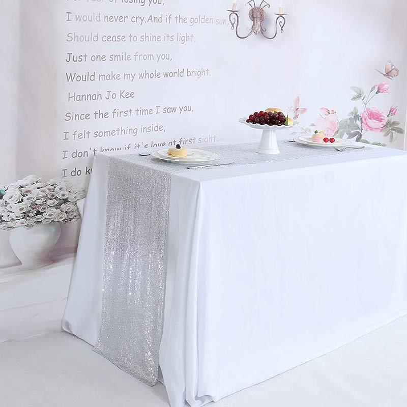 TRLYC Sequin Table Runner Wedding Sequin Table Runner Silver 12X60