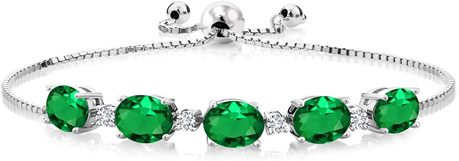 Gem In stock Stone King 925 Sterling Silver Virginia Beach Mall L Green Emerald and Simulated