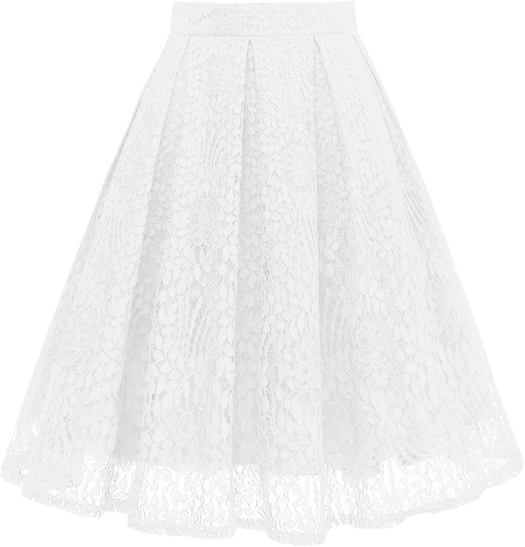 Girstunm Women High Waist Pleated ALine Knee Length Lace Pockets Skirt