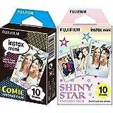 Instax Fujifilm Mini Película fotográfica, Cómic, Pack 10 películas + Fujifilm 16404193 Colorfilm Mini Star WW 1, película fotográfica instantánea (10 Hojas per Pack), Estrellas