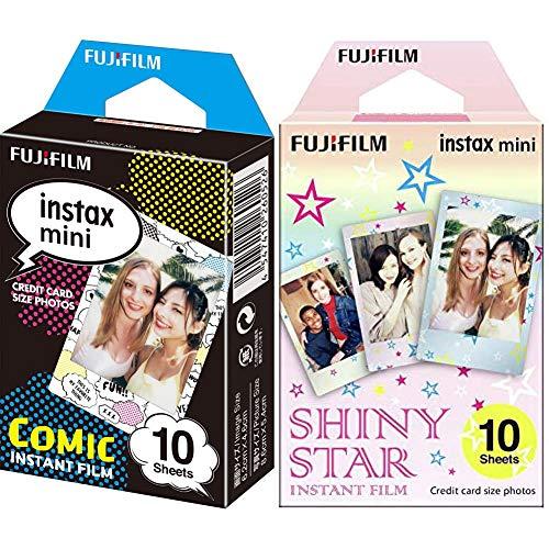 Fujifilm Instax Mini Monopack de 10 Films pour développement instantané Shiny Star & Mini Comic Film Monopack de 10 Films pour développement instantané Comic