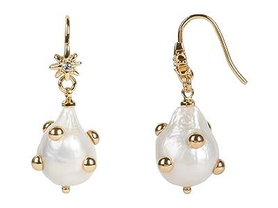 Rebecca Minkoff Studded Baroque Pearl Drop Earrings (Multi) Earring