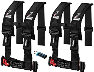 "Set of 2 Dragonfire Racing 4-Point 3"" H-Style Harness With Sternum Clip (3"") (Black) W Polaris/Can-am Bypass Override conncector"