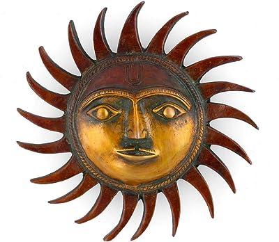 Collectible India God Sun Brass Wall Hanging God Sun Figurine nazar battu