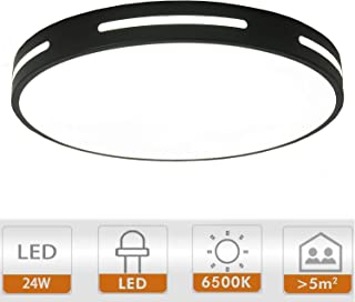 Ganeed LED Flush Mount,Modern Ceiling Lights Fixtures Round Hollow,6500K Cool White Living Room Ceiling Lamp,24W 12 Inch Energy Efficient Lighting for Dining Room Kitchen Hallway,Black