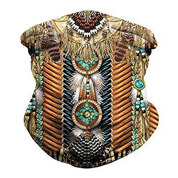 JooMeryer Seamless Bandanas Balaclava Face Mask Neck Gaiter Viking Print for Men Women,Native American