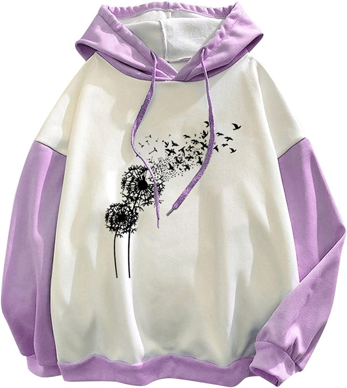 lucyouth Hoodies for Women Teens Girls Long Sleeve Casual Dandelion Plus Size Cute Stitching Drawstring Sweatshirt