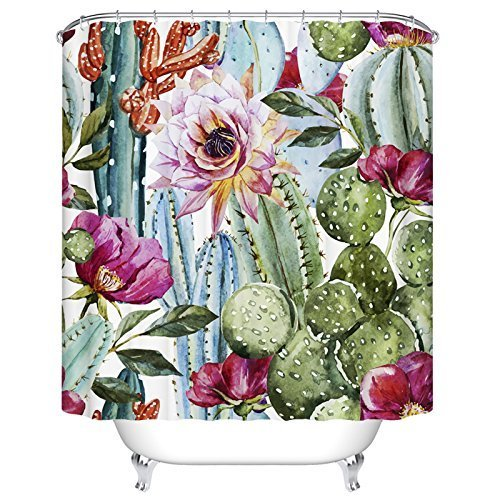 YUKIHOME Cactus Flower Shower Curtain for Bathroom Shower Curtain Set with Hooks Bathroom Accessories Polyester Fabric 72 x 72 INCHES