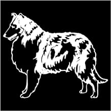 YINGJUN 14.2x11.7CM Collie Dog decoratieve raamstickers Animal Lovely Car Styling Fashion Personality Stickers Zwart/Zilve...