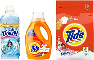 Tide Automatic Detergent Downy - 4 kg With Tide Automatic Whites & Colors Power Gel Detergent - 1 Liter With Downy Concentrate Fabric Softener Valley Dew - 1 Liter