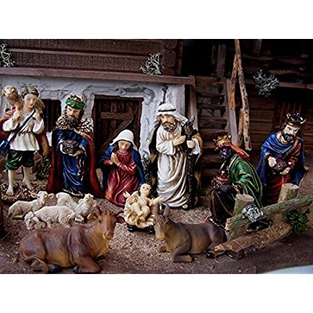 Krippenfiguren Polyresin 12 Tlg f/ür Weihnachtskrippe. handbemalt Satz 13cm