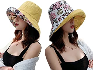 Women's Summer Wide Brim Floppy Reversible Sun Hat Foldable Beach Fishing Sun Protection Bucket Cap