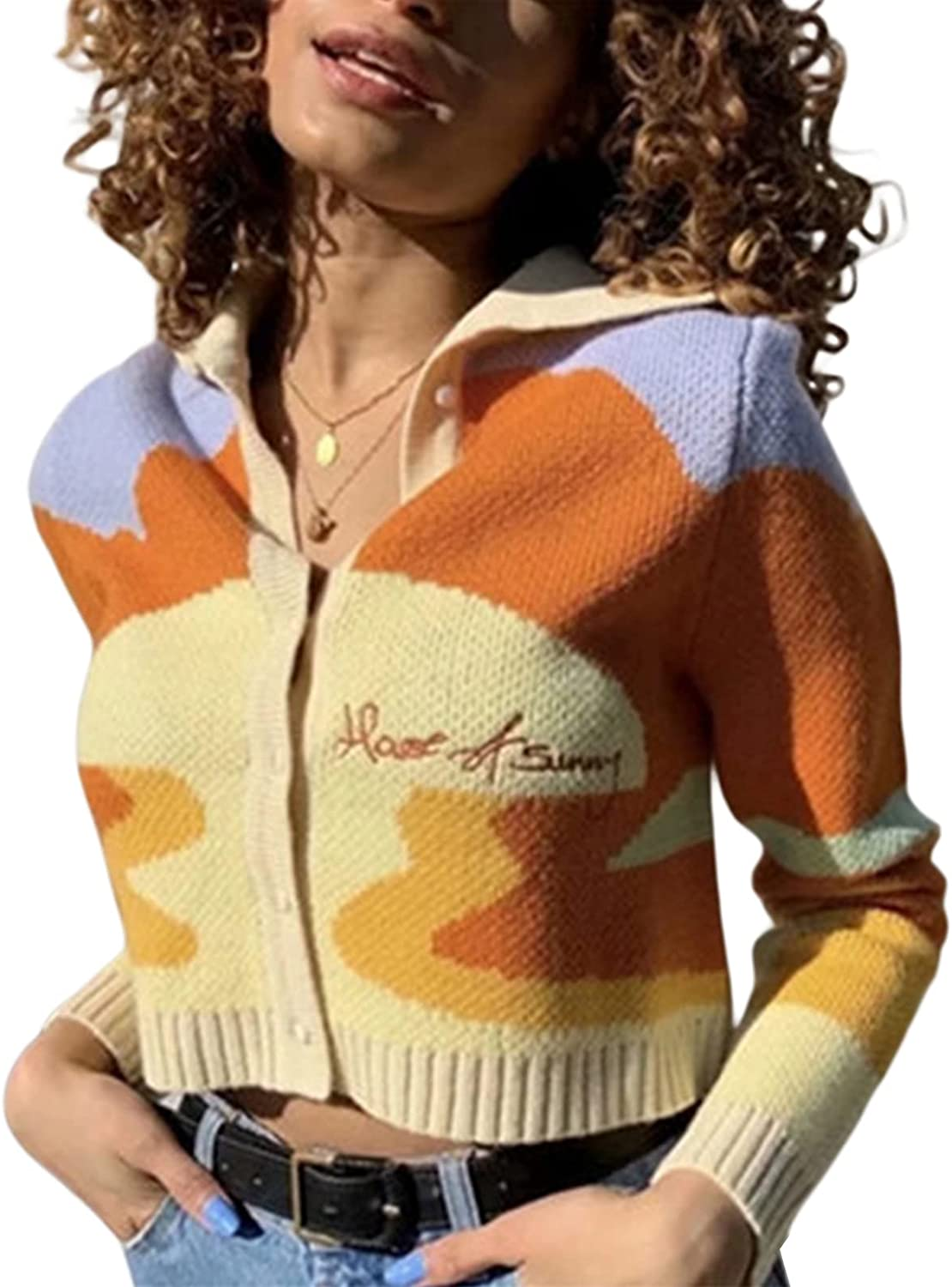 Women Casual Short Knit Cardigan with Button Fashion Long-Sleeved Tie-dye Embroidery Sweater Cardigan Y2k Chic Coat