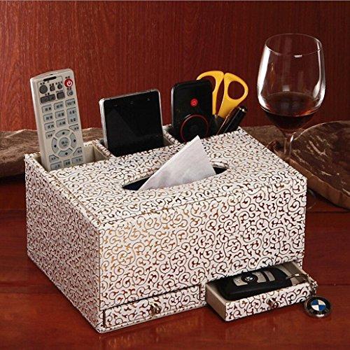 Boîte à mouchoirs organisateur de bureau en cuir d'unité centrale multifonctionnelle Tidy Business Card Pen GSM télécommande porte boîte de rangement avec tiroir , a