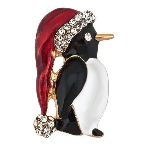 JewelryHouse Alloy Penguin Christmas Hat Brooch Pin Imitation Crystal Xmas  Holiday Party b5e46f928