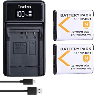 Tectra 2 Pack NP-BN1 Rechargeable Battery and LED USB Charger for Sony Cyber-Shot DSC-QX10, DSC-QX100, DSC-T99, DSC-T110, DSC-TF1, DSC-TX5, DSC-TX7, DSC-TX9, DSC-TX10, DSC-TX20, DSC-TX30, DSC-TX55