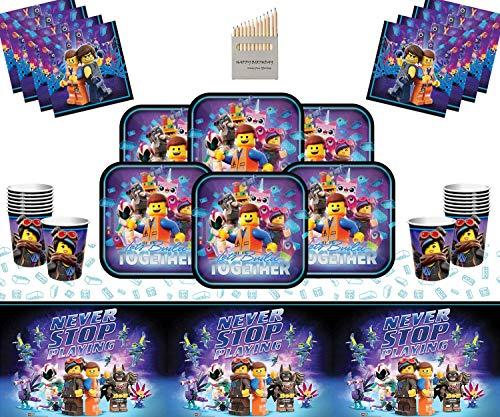 CAPRILO Lote de Cubiertos Infantiles Desechables Movie (16 Vasos, 16 Platos(23 cm) y 16 Servilletas) .Vajillas y Complementos. Juguetes para Fiestas de Cumpleaños, Bodas, Bautizos y Comuniones.