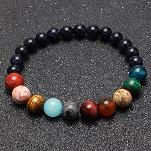YZDKJ 7 Chakra Pulsera para Mujeres Hombres Cuentas de Piedra Natural Yoga Pulseras de Mujer Pulsera Pulsera de la Pareja de la muñequera (Length : S 180mm, Metal Color : Colorful Bracelet)