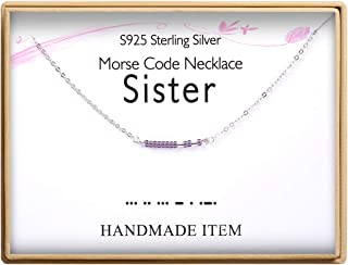 Sister Morse Code Necklace S925 Sterling Silver Morse Code Pendant Necklace Women Jewelry Birthday Gifts for Sisters