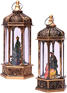 BESPORTBLE 2Pcs Christmas Snow Globe Lantern Church Jesus Xmas Hanging Lantern Lighted Christmas Ornaments Xmas Night Light f
