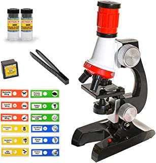 میکروسکوپ مبتدی VARUN Kids با بزرگنمایی LED 100X ، 400x ، و 1200x و نمونه اسلایدهای آماده مجموعه لوازم جانبی مجموعه STEM آموزشی میکروسکوپ بزرگنمایی با وضوح بالا برای دختران پسر