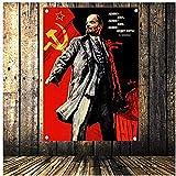 Bilder,Poster,Lenin Portrait Poster Sowjetischer Führer Vladimir Vintage Flagge Banner Tapisserie Aufkleber Kommunistische Cocialism Bar Cafe Wanddekor Geschenk -Poster-60X80Cm