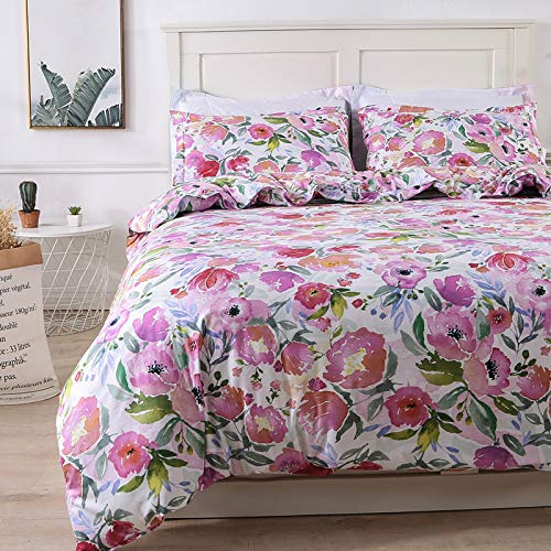 Colorxy Watercolor Flora Duvet Cover 3 Piece Set - Ultra Soft Microfiber Reversible Pink Flower Printed Comforter Cover with Zipper Closure, Corner Ties and 2 Pillow Shams, King (104x90 inches)