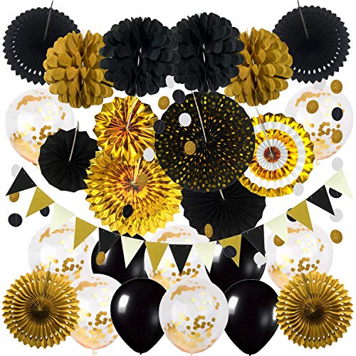 ZERODECO Black and Gold Party Decorations, Confetti Balloons Decorative Folding Fans Paper Pompoms Triangle Bunting Flags Garlands for Graduation Wedding Birthday Photo Backdrop Party Decorations