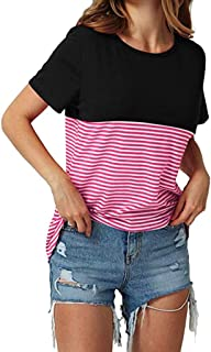 ZOMUSAR Women Striped Short Sleeve Tops Triple Color Block T-Shirt Casual Blouse
