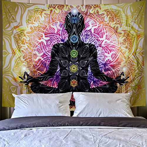 Lahasbja - Tapiz de meditación para yoga, 7 chakras, para colgar en la pared, diseño de mandala