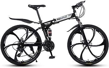 bobo4818 Bike Herren 26in Kohlenstoffstahl Mountainbike Shimano 24 Geschwindigkeit Fahrrad Vollfederung MTB Schaltung mit Schreibenbremse