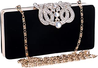 Runhuayou Women's Velvety Even Clutch/Banquet Bag Lady Crystal Rhinestone Crown Clutch Bag Black/Green/Red/Purple Great for Casual or Many Other Occasions Such (Color : Black)