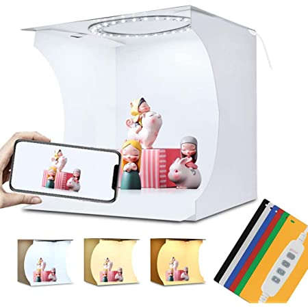 OBEST 撮影ボックス 撮影キット 影なしランプ 折り畳み可能 USB電源モード 6色背景布 22*23*24cm小型 簡易スタイジオ ミニ撮影ボックス 組立簡単 素敵な効果がある 折り畳み 携帯型 撮影照明ボックス 撮影ブース 撮影キット (青)