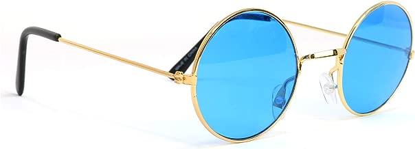 Skeleteen John Lennon Hippie Sunglasses - Blue 60's Style Circle Glasses - 1 Pair