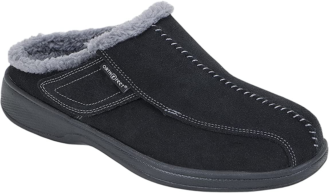 Orthofeet Proven Plantar Fasciitis & Foot Pain Relief Arch Support Orthopedic Men's Leather Slippers Asheville Black