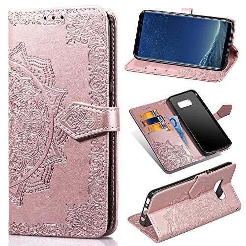 ZCDAYE Brieftasche Hülle für Samsung Galaxy S8 Plus,Premium PU Leder Mandala Muster Floral Handyhülle [Magnetverschluss][Standfunktion][Kartenfach] Flip Schutzhülle für Samsung Galaxy S8 Plus-Roségold