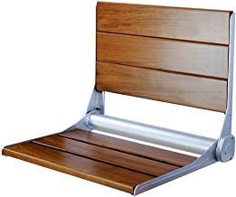 """Clevr 18"""" ADA Compliant Folding Serena Teak Wood Shower Bench Seat, Clear Coated for Extra Protection and Smooth Modern Finish, Foldable Aluminum Wall-Mounted Fold Up Bathroom Stool Seating Chair"""