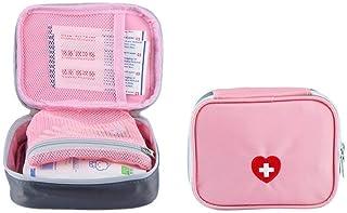 SwirlColor Píldora portátil de Primeros Auxilios Bolsa Organizador fácil Lleva Medicina Envase con Multi-Bolsillo de Viaje (Rosa)