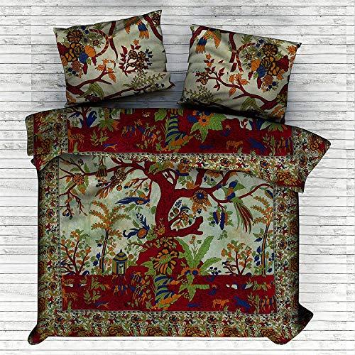 The Art Box - Juego de funda de edredón de algodón con diseño de árbol de la vida, diseño de mandala, color verde indio