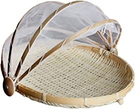 MagiDeal Covered Round & Rectangular Bamboo Storage Basket with Mesh Cover Food Tent Storage Basket -, L Round