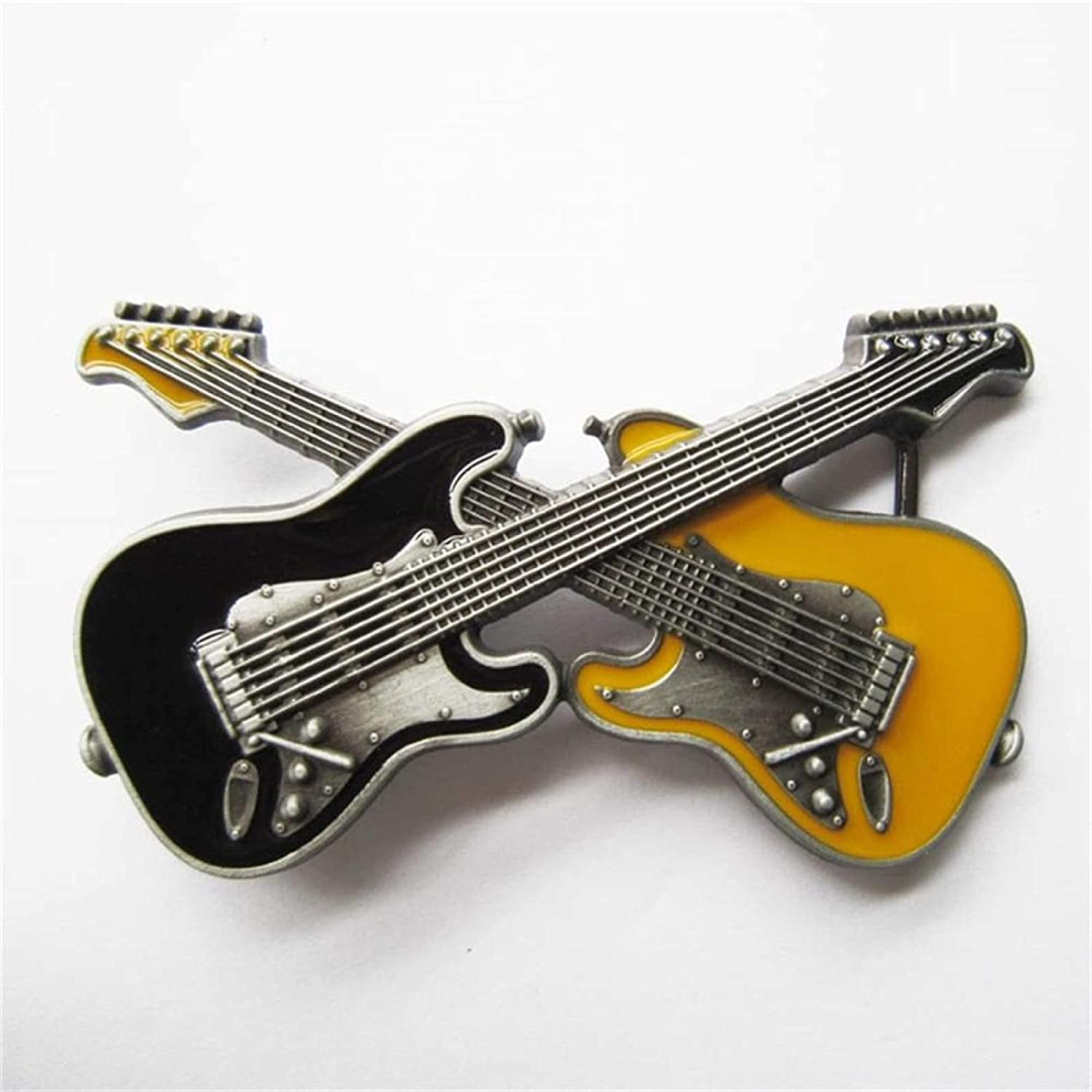 Max 42% OFF Retail Distribute Black New Shipping Free Yellow Crossed Guitars Belt Buckl Double
