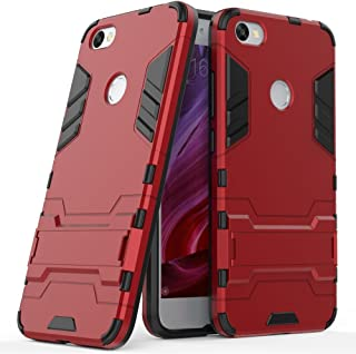 MaiJin Funda para Xiaomi Redmi Note 5A (5,5 Pulgadas) 2 en 1 Híbrida Rugged Armor Case Choque Absorción Protección Dual Layer Bumper Carcasa con Pata de Cabra (Rojo)