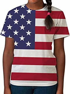 Kids Graphic Tee Youth T Shirt American Flag Clothes for Girls