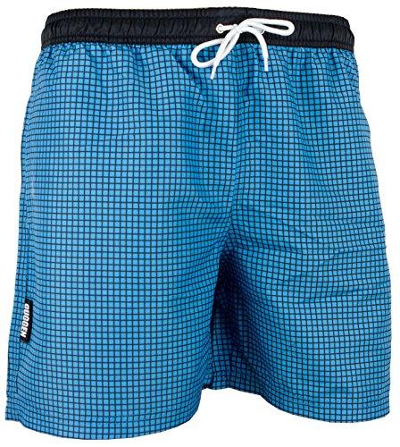 GUGGEN Mountain Badehose für Herren Schnelltrocknende Badeshorts Style-6 mit Kordelzug Beachshorts Boardshorts Schwimmhose Männer kariert Farbe Blau XXXL